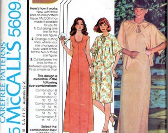 """1970s Women's Dress and Cover-up Cape Pattern- Size 12, 14 Bust 34"""", 36"""" - McCall's 5609"""