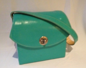 1940s 1950s Purse / Film Star Creations of Hollywood / Handbag / Teal/ leather/ box / small / 40's 1950s