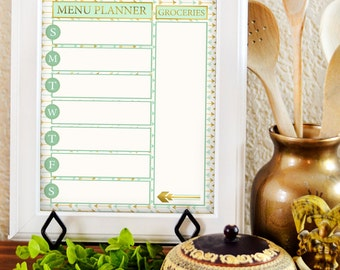 Weekly Menu Board - Menu Planner Printable - Dry Erase Menu - Menu Printable - Weekly Meal Planning - Dry Erase Menu Board - Kitchen Print -