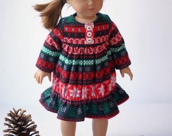 "Doll Clothes Girl American 18"" Christmas Nightgown Pajamas Flannel Holiday Snowflake Christmas Trees Ugly Christmas Sweater PJs"