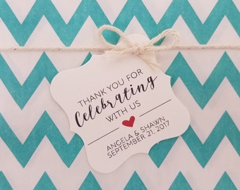 Wedding Gift Tags - Thank You For Celebrating With Us. - Customizable Personalized (WT1714)