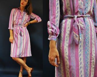 1980s Purple Lavender Multi Print Striped Waist Tie Shift Dress
