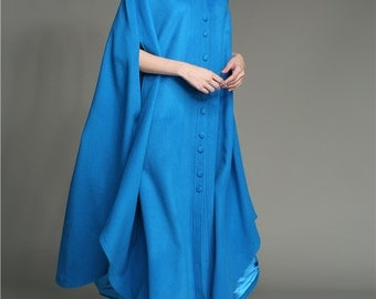 Maxi Wool Coat, 100% CASHMERE coat in blue, black red; long wool coat, maxi poncho cape, flared coat, maxi cape, single breasted jacket