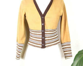 50s/60s JC Penney Fashions cropped cardigan / vintage striped sweater orlon acrylic union made