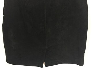 Black Suede Pencil Skirt / Size 12