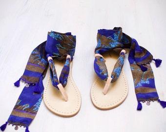 lace up sandals, leather silk sandals, italian sandals, one of a kind sandals agnès de juliis