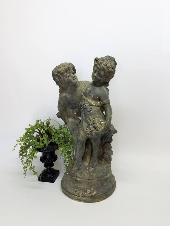 "Large Vintage Statue Marwal ""Lovers Grand""  Chalkware Statue Custom Hand Painted Distressed Finish"