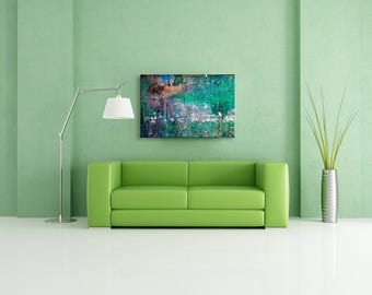Green and brown grunge abstract photography print on canvas - Huge wall art on canvas - House warming gift