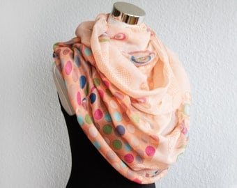 Polka Dots Infinity Scarf with  Rainbow Circles Rings and Butterflies, Peach Apricot Scarf scarves shawl schal flower sarong pareo wrap gift