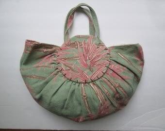 Original Vintage 1940s 40s Hawaiian Bamboo Print Barkcloth Bonnie Bag Purse Handbag-WWII-Swing-Beach/Pool Party-Tiki-Hawaii-Novelty-Souvenir