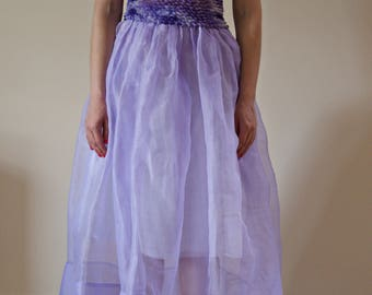 1950s cotton organdy full sheer skirt   prom skirt   rockabilly grease style