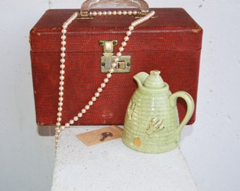 Vintage Red Travel/Vanity Case with Key, Mirror