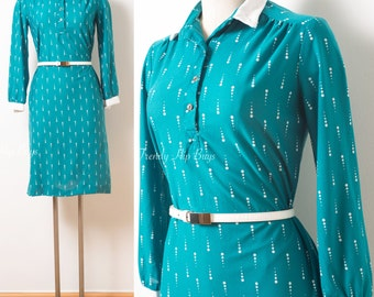 60s dress, Vintage Green Dress, 60s green dress, Mad Men Dress, Vintage shirt dress, 60s secretary dress, Vintage secretary,knit dress - S/M