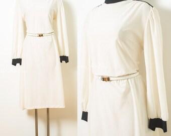 Vintage 70s Dress, Vintage Ivory dress, Sheer ivory dress, 70s secretary dress, Vintage turtle neck dress, Vintage cream dress - XL/1XL
