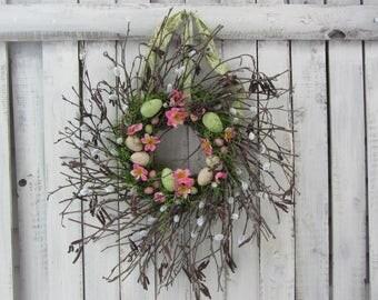Twig Easter Wreath - Egg Wreath - Easter Wreath - Spring Wreath - Spring Easter Decor - Pussy Willow Wreath - Rustic Wreath - Door Wreath