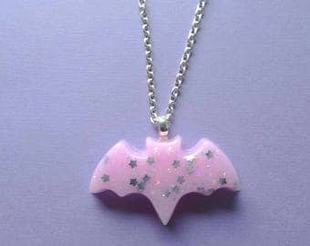 Kawaii Pink Bat Necklace- Kawaii-Pastel Goth- Creepy Cute Sweet Lolita Gothic Lolita Pastel