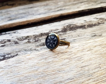 Vegvísir Sigil Compass Adjustable Ring - Icelandic Magical Stave - Viking Jewellery - Norse Jewelry - Viking Ring - Vegvísir Ring - Historic