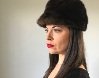 50s designer GWENN PENNINGTON mink fur riding  hat