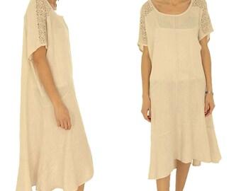 HK400BG ladies dress A-line lace Flounce linen Gr. 44 46 48 50 beige