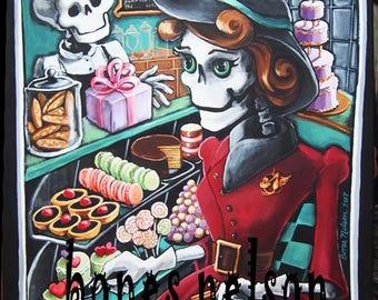 "Vintage Skeleton Bakery Original Painting by Bones Nelson Mexican Folk Art Decor 16"" x 20"""