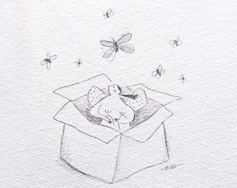 pencil drawing, illustration girl in a box, set yourself free, fly, freedom, you have wings, poetic art, motivational art, ORIGINAL sketch