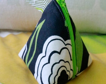 Zippered Pouch, Cosmetic Bag, Vintage Fabric, Upcycled Accessories,  Green Black Ivory, Unique Gift Idea, New Mother, Unusual Ideas