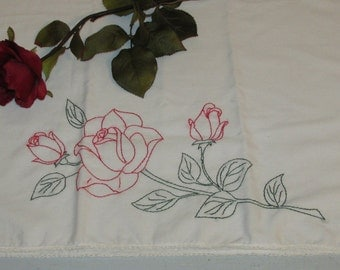 Vintage Embroidered Rose Pillowcase