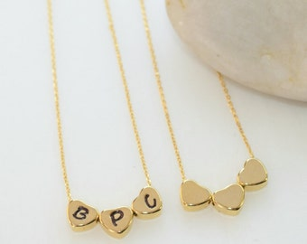 Three Little Hearts Necklace, Gold Jewelry, Personalized Jewelry, Gold Necklace