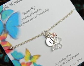 Silver Butterfly Bracelet, Personalized Bracelet, Sterling Silver Bracelet, Birthstone Bracelet, Initial Bracelet, Nature Jewelry WB111