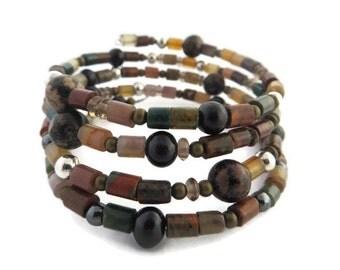 Brown Boho Cuff, Mixed Gemstone Bracelet, Earth Tone Multi Wrap Bracelet, Brown Beaded Cuff, Memory Wire Bracelet, Southwest Bracelet