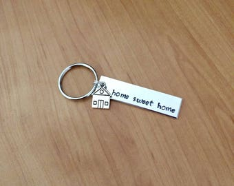 Home Sweet Home Keychain - Housewarming Gift - New Home Gift - House Keys Keyring - Moving In Together - First Home Gift