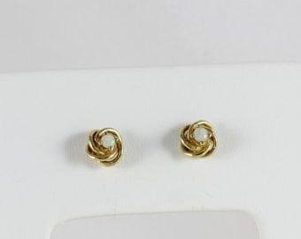 14k Yellow Gold Opal Stud Post Earrings