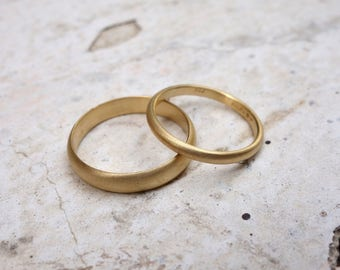 Simple wedding ring etsy gold wedding ring set promise rings solid gold bands gold rings his and hers wedding rings junglespirit Image collections
