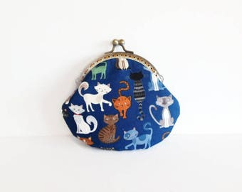 Cat Print Kiss Lock Purse, Metal Frame Large Coin Purse, Cat Lover Gift