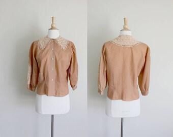 1940s Blouse | 1940s Top | Lace Collar Blouse | Crochet Collar | Rust Brown | Medium