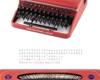 Typewriter Triumph Norm 6 - working - 50s - burgundy red - vintage typewriter with case - portable