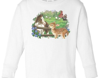Toddler / Kids Equestrian Shirt - Long Sleeve T-Shirt with Foal and Bunny Rabbit - Spring Horse Clothing for Children