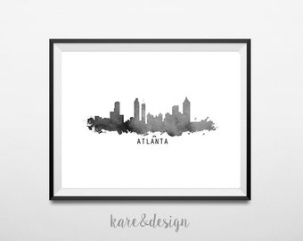 Atlanta Skyline Printable Art, Cityscape, Instant Download, Watercolor, Wall Art Decor, Black and White, Poster, Monochrome, Travel, Paint