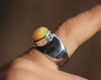 Bright Ethiopian Fire Opal Ring, Size 7, Wide Band Ring, Sterling Silver Setting, Solid Opal Ring,  Welo Opal WOR11