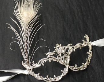 Rhinestone Feather Masquerade Mask, Party Mask, Ball Mask, Masquerade Wedding, Silver Mask, Costume, Carnival, Art Deco, Great Gatsby