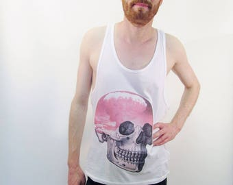 Pink Skull Tank Top Mens Racerback Tank Top Pink Tank Top Atomic Cloud Hipster Clothing Festival Vest