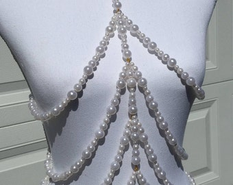 Pearl Body Chain, Pearl Body Harness, Skeleton Body Chain, Skeleton Body Harness, Rib Cage Body Chain, Rib Cage Body Harness