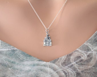 Sterling Silver Castle Charm Necklace, Fairy Tale Castle Necklace, Charming Castle Necklace, Castle Necklace, Princess Castle Necklace