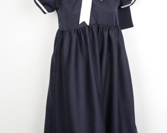 Girl's Sailor Dress Costume - 100% Wool Dress and Cap with Silk Underskirt
