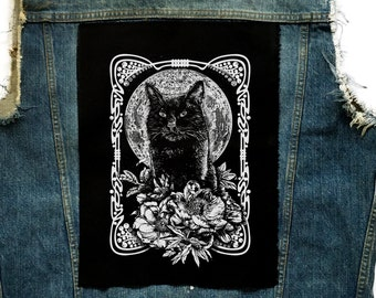 Moon Behind Cat Back Patch | Patches | Punk Patches