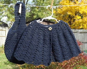 Girl's Crocheted Set, Navy Blue Capelet & Tote Bag, Size XL 8, Buttoned Shawl, Crocheted Lace Acrylic Shawl, Mesh Purse, Girl's Gift Set
