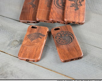 Wood Engraved iPhone Case - Game of Thrones Houses - Engraved with Stark, Targaryen, Baratheon, Lannister, Greyjoy or Arryn