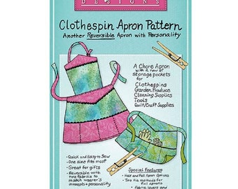 Clothespin Apron Pattern by Mary Mulari Designs Another Reversible Apron with Personality  One Size Fits Most