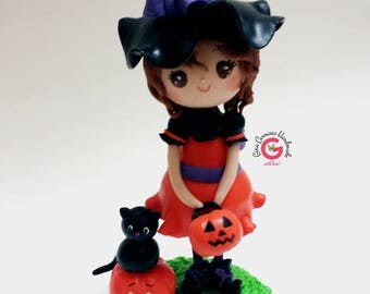 Halloween witch cake topper, witches hat, Halloween birthday party, witch birthday, pumpkin cake topper, black cat, trick or treat