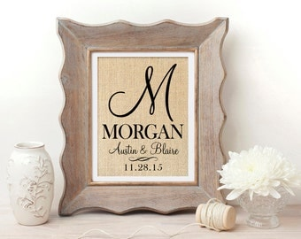 Personalized Burlap Wall Art | Monogrammed Burlap Print | Wedding Gift | Personlized Wedding Gift | Anniversary Gift | Bridal Shower Gift